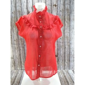 Vintage Red Polka-dot Blouse